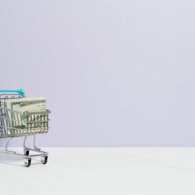 Lille indkøbsvogn med pengesedler